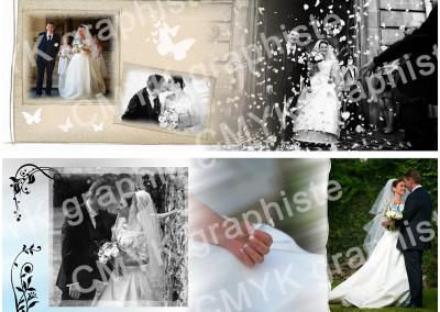 Mariage / Création de la mise en page / Double page d'un album photo