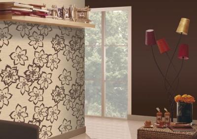 Retouche photo pour catalogue de papier peint / Incrustation du motif dans un décor - détourage et retouche du décor / Photoshop