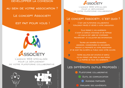 Flyer Associety Recto verso / Plateforme collaborative  / Illustrator