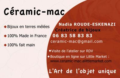 Mise en page Ceramic-mac / Carte de visite / Créatrice de Bijoux