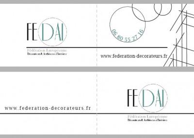 Carte de visite double Recto verso / Fédération Européenne de décorateurs et Architectes d'intérieur  /  Illustrator