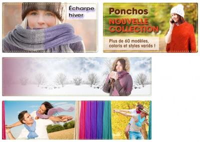 Bannières / Pour mise en avant  de produits sur un site de ventes en ligne / Montage photo pour  incrustaion des foulard / Photoshop