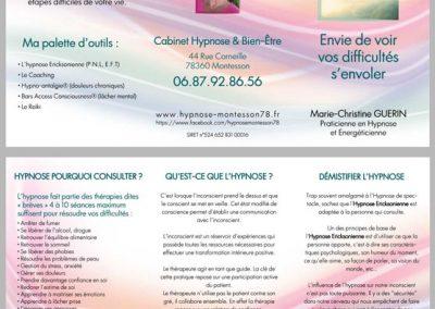 Création du flyer Recto Verso roulé 2 plis / Cabinet d'Hypnose