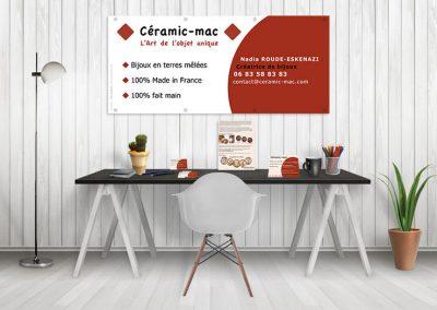 Mise en page Ceramic-mac / Bâche - carte de visite - flyer / Créatrice de Bijoux
