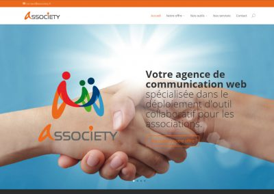 "Site Vitrine WordPress de plateforme collaborative <a href= ""http://associety.fr/"">Voir le site d'Associety</a>"