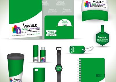 Mise en situation du logo Virgile Déco Peinture sur tous supports/ Société de peinture et décoration d'intérieur  / Illustrator